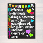 Diversity Poster, School Counselor Poster, Teen Bedroom Decor, Printable Classroom Wall Art, Office Decor, Motivational Classroom Anti Bully