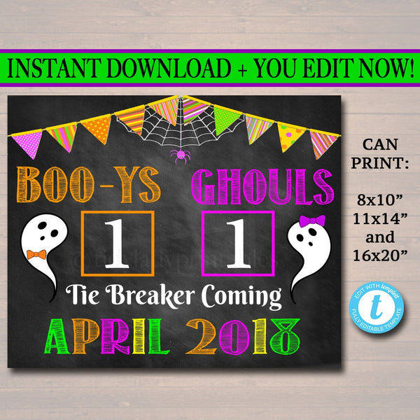 Tie Breaker Pregnancy Announcement, Printable Chalkboard Poster Sibling Pregancy Reveal, Expecting Third Child Halloween Sign Boo-y or Ghoul