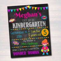 EDITABLE Girl Superhero Back to School Photo Prop, Back to School Chalkboard Poster, Personalized School Chalkboard Sign, 1st Day of School