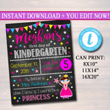 EDITABLE Princess Back to School Photo Prop, Back to School Chalkboard Poster, Girl School Chalkboard Sign, Any Grade Sign 1st Day of School