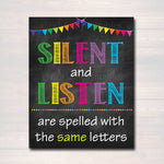 Classroom Decor, Classroom Policies Poster, Classroom Rules Poster, Educational Poster, Listening Printable Teacher Art INSTANT DOWNLOAD