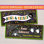 EDITABLE Bugs & Kisses Halloween Treat Bag Toppers, Halloween Favor Tags, Printable Trick or Treat Labels, Kids Halloween, INSTANT DOWNLOAD