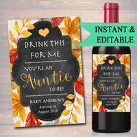 Drink This For Me You're An Auntie To Be, Digital Wine Label Pregnancy Announcement, New Aunt Gift, Sister Promoted to Aunt Pregnancy Reveal