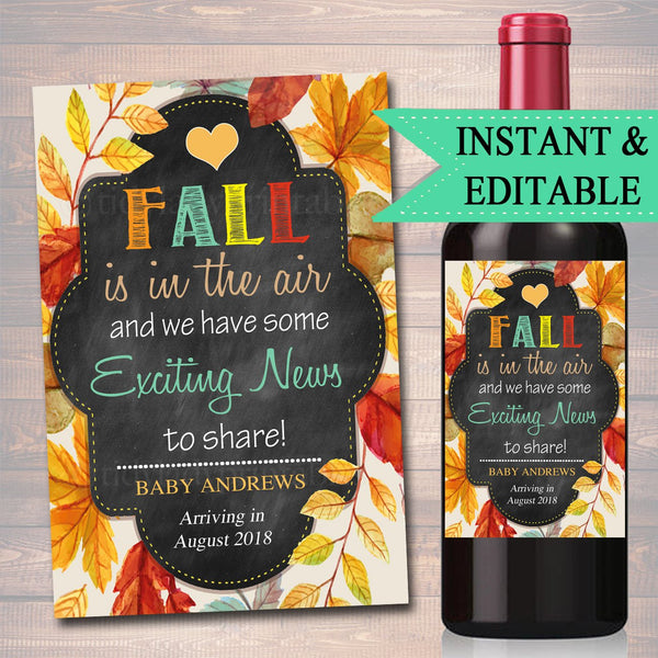 EDITABLE Wine Label Halloween Pregnancy Announcement Printable Chalkboard, Pumpkin Fall Pregancy Reveal Fall is in The Air, INSTANT DOWNLOAD