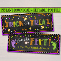 Editable Treat Bag Toppers, Trick or Treat Smell my Feet Halloween Favor Tags, Nail Polish Favor Labels, Printable Girl Halloween Party Gift