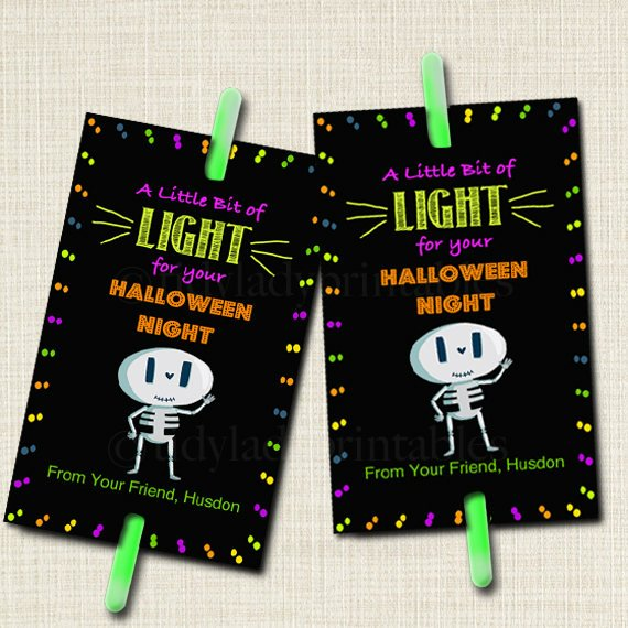 EDITABLE Glow Stick Favor Tags, Glow Stick Labels, Printable Trick or Treat Tags, Kids Halloween Night, Non-Candy Treats INSTANT DOWNLOAD