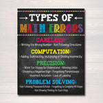 MATH Teacher Classroom Poster, Printable Mistakes Math Classroom, Math Class Poster Decor, High School, Classroom Rules, Math Teacher Gift