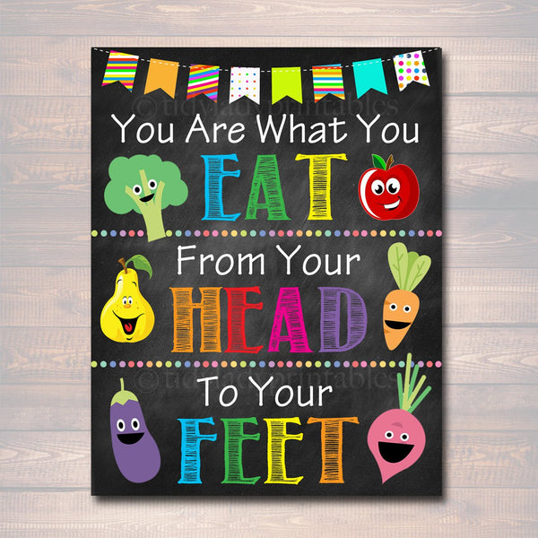 School HEALTH Poster, Cafeteria Poster, Printable, INSTANT DOWNLOAD Lunchroom School Teacher Sign, Cafeteria Wall Art, You Are What You Eat