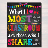 What I Love Most About This Classroom is Who I Share it With, Teacher Art Printable Poster, Classroom Poster, School Decor, Classroom Decor