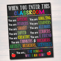 Printable Classroom Poster, Classroom Decor, Teacher Printable, INSTANT DOWNLOAD, When you Enter This Classroom Rules Sign, Teacher Gifts