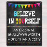 Classroom Decor, Counseling Office Poster, Counselor Office Decor, Therapist Child Psychologist Office, Classroom Poster Believe in Yourself