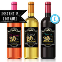 EDITABLE 30th Birthday Custom Wine Labels, Cheers to 30 Years, 30th Birthday Gift, 30th Party, Vintage Aged to Perfection 30th Printable