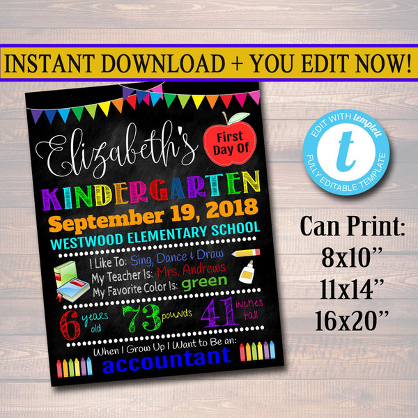 CUSTOM Back to School Photo Prop, Back to School Chalkboard Poster, Personalized School Chalkboard Sign, First Grade Sign, 1st Day of School
