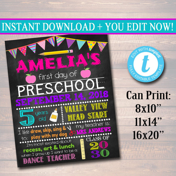 EDITABLE Back to School Photo Prop Back to School Chalkboard Poster Personalized School Chalkboard Sign, First Grade Sign, 1st Day of School