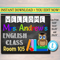 English Teacher Classroom Door Sign - Printable DIY Template