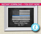 Police Gift, Blue Lives Matter, Back the Badge Printable Wall Art Home Decor, Thin Blue Line Art Police Academy Gift,
