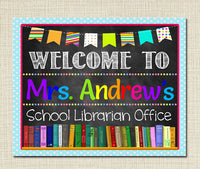 School Librarian Door Sign School - Library Name Sign