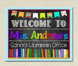 EDITABLE School Librarian Door Sign School Library Name Sign, Teacher Door Hanger, Children's Librarian Sign, Library Posters, Library Decor