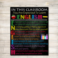ENGLISH Classroom Poster,  English Classroom Decor, Classroom Rules Poster, High School English Teacher, English Teacher Gifts, ELA Teacher