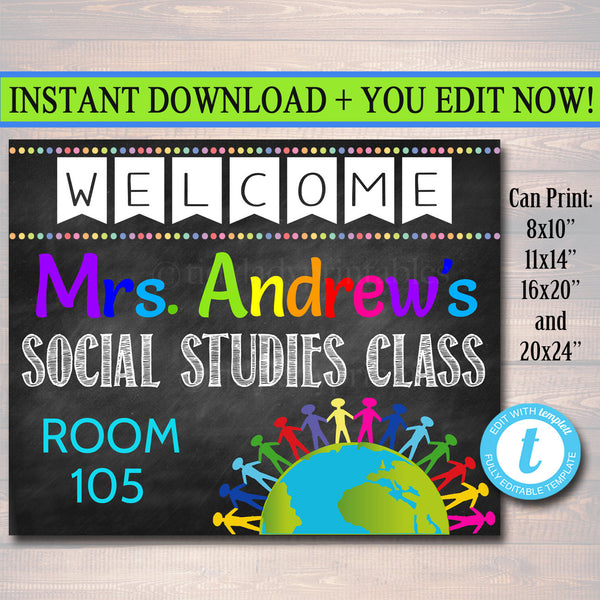 Social Studies Teacher Classroom Door Sign - Editable DIY Template