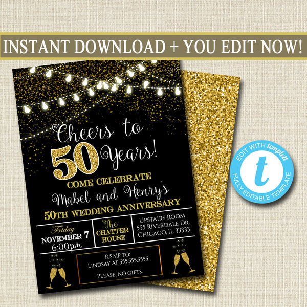 EDITABLE 50th Party Invitation, Birthday Printable Cheers to Fifty Years, Digital 50th Wedding Anniversary Invite, Black & Gold Party Decor