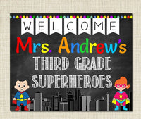 SuperHero Teacher Classroom Door Sign, Classroom Decor, Teacher Door Hanger, Custom Teacher Name Sign, Teacher Gifts, Personalized Sign