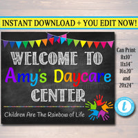 EDITABLE DayCare Door Sign, Child Care Sign, DayCare Door Hanger, Daycare Decor Printable Poster Welcome Daycare Sign Custom Business Sign