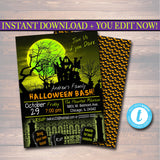 Printable Halloween Invitation, Haunted House, Costume Party Invitation, Scary Adult Party Invite, Adult Halloween, Scary Party Invitation