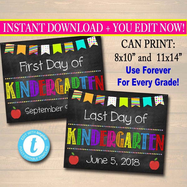 EDITABLE Back to School Photo Prop, Back to School Chalkboard Poster, Personalized School Chalkboard Sign, 1st Day of School Printable Prop