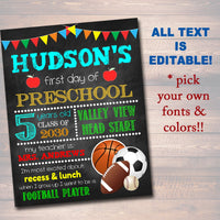 EDITABLE Sports First or Last Day of School Photo Prop, Printable Back to School Chalkboard Sign, Kindergarten, Preschool, Any Grade Poster