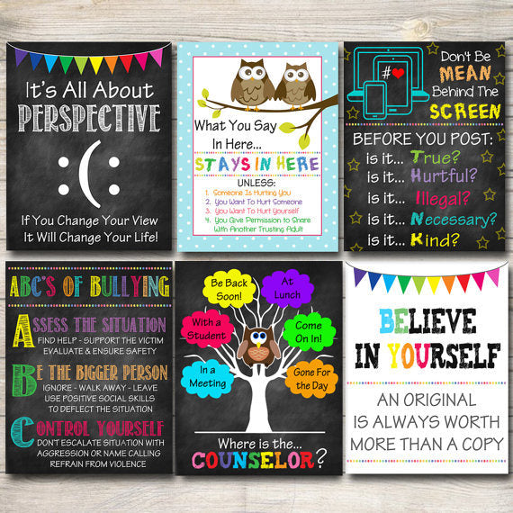 School Counselor Posters, Where is the Counselor Door Sign, Counselor Office Decor, Guidance Counselor Gifts Counselor Office Art,  Set of 6