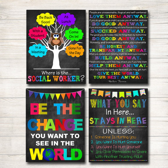Social Worker Posters, Social Worker Gifts, Social Work Office Decor, Door Hanger, Social Worker Office Door Sign INSTANT DOWNLOAD, Set of 4
