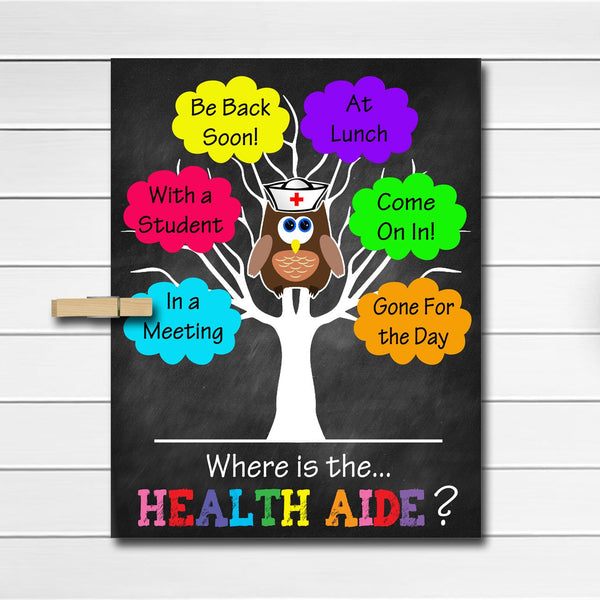 Where is the School Health Aide, Classroom Decor, Health Clerk Gifts, Office Door Hanger, Nurse Office Decor, Nursing Assistant Office Decor
