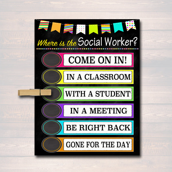 Social Worker Door Sign, Social Worker Gifts, Office Door Hanger, Social Worker Office Decor Printable Sign, INSTANT DOWNLOAD, Custom Door