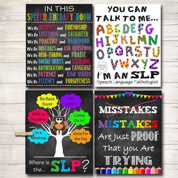 SLP Poster Pack, Where is the Speech Language Pathologist Sign, SLP Door Sign, SLP Gift, Speech Therapy Office Decor Art,