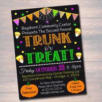 EDITABLE Trunk or Treat Flyer/Invitation Printable Halloween Invitation, Community Halloween Event, Kids Halloween, Halloween Party Invite