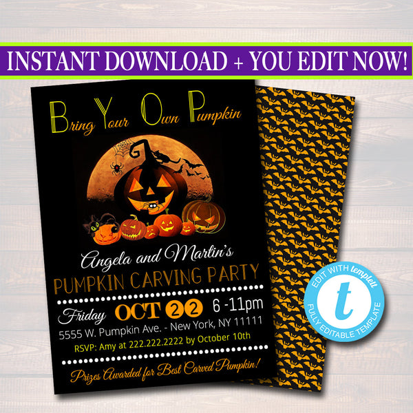 Printable Pumpkin Carving Party Invitation, Halloween Invitation, Costume Party Invitation, BYOP, Adult Halloween, Eat Drink and Be Scary