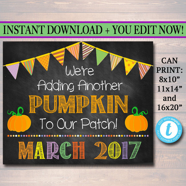 Fall Pregnancy Announcement, Printable Chalkboard Photo Prop, Fall Pregancy Reveal, Adding Another Pumpkin to Our Patch, Halloween Pregnancy