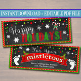 EDITABLE Mistletoes Bag Toppers, Printable Christmas Tags INSTANT DOWNLOAD, Xmas Card Christmas Eve, Teacher Gifts, Secret Santa Office Gift