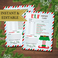 EDITABLE Elf Report Card, Elf Letters, Elf Letters, Notes from the Elf, Naughty or Nice Behavior Santa North Pole Printable INSTANT DOWNLOAD