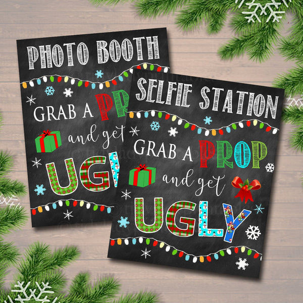 Printable Holiday Photo Booth Signs, Selfie Station Grab a Prop Christmas Decor, Printable Art INSTANT DOWNLOAD Christmas Ugly Sweater Party