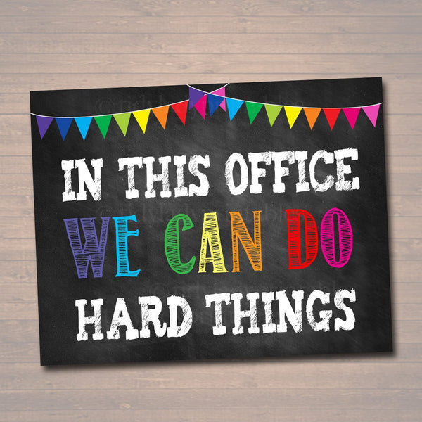 Counseling Office Poster, Counselor Office Decor, Therapist Office, Social Worker Sign, Counselor Gift Confidentiality We Can do Hard Things