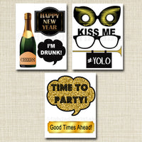 EDITABLE New Years Party Props, Printable Photo Booth Props INSTANT DOWNLOAD, New Years Eve Party Props, Photobooth Signs, Happy New Year