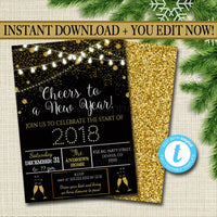 EDITABLE New Years Eve Party Invitation, Adult Holiday Party Invitation Adult Christmas Printable New Years Invite Template INSTANT DOWNLOAD