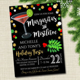 EDITABLE Margaritas and Mistletoe Invitation Christmas Party Invite, Holiday Party Adult Cocktail Party Holiday Ugly Sweater Digital Invite