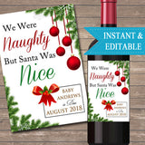 EDITABLE Wine Label Christmas Pregnancy Announcement, Printable Baby DIGITAL Label, Holiday Pregancy Reveal, We Were Naughty Santa Was Nice