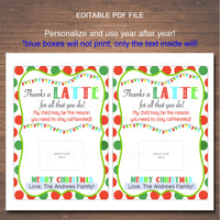EDITABLE Coffee Gift Card Holder, Thanks a Latte, Printable Holiday Teacher Xmas Gifts, My Child is The Reason You Need to Stay Caffeinated