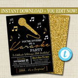 Adult Karaoke Party Invitation, Birthday Invitation, DIY  Invite, Black & Gold Party Invitation, Karaoke Party Singing Party