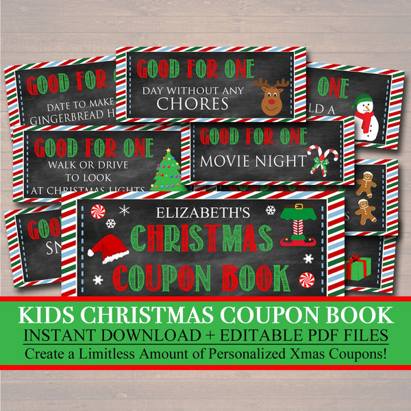 EDITABLE Kid's Christmas Coupon Book, INSTANT DOWNLOAD, Printable Holiday Coupons, Stocking Stuffer, Kid's Behavior Xmas Coupon Booklet