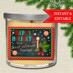EDITABLE Christmas Candle Label, Secret Santa, Printable Teacher Gift, Scentsational Teacher Tag, Holiday Candle Label, INSTANT DOWNLOAD